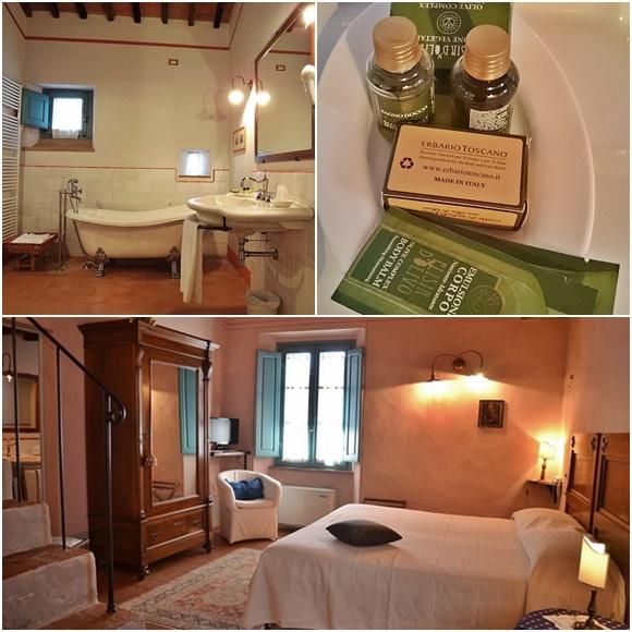 Mosaico com foto do banheiro com a banheira branca de louça, produtos do Erbário em cima da pia e quarto abaixo com cama, poltrona branca, armário com espelho grande e escada Blog Vem Por Aqui