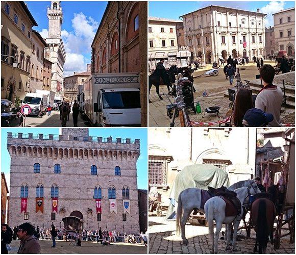 Mosaico com imagens das ruas com caminhões de filmagem, pessoas vestidas com roupas antigas montadas à cavalo, prédio com bandeiras antigas e cavalos parados Blog Vem Por Aqui