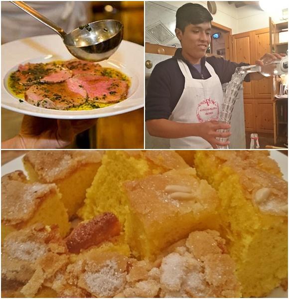 Mosaico com prato de carne com molho, garçom servindo a grappa e bolo de azeite Blog Vem Por Aqui