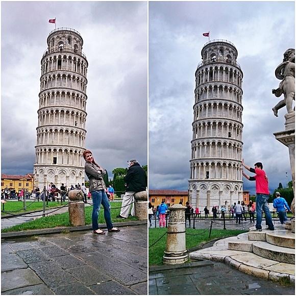 Érika e Mateus fazendo graça nas fotos com a torre, ela parece que está se apoiando e ele que está empurrando Blog Vem Por Aqui