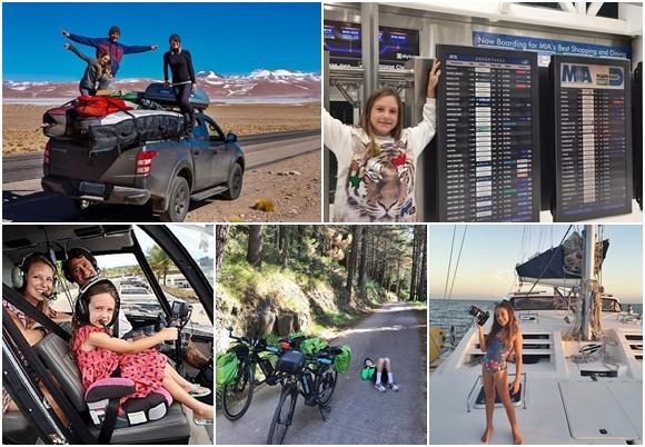 Mosaico com fotos de viagens da família, todos em cima de uma picape, Isabelle diante do painel de um aeroporto, os três num helicoptero, Isabelle deitada numa estrada em frente a duas bicicletas e Isabelle com uma câmera na proa de um barco Blog Vem Por Aqui
