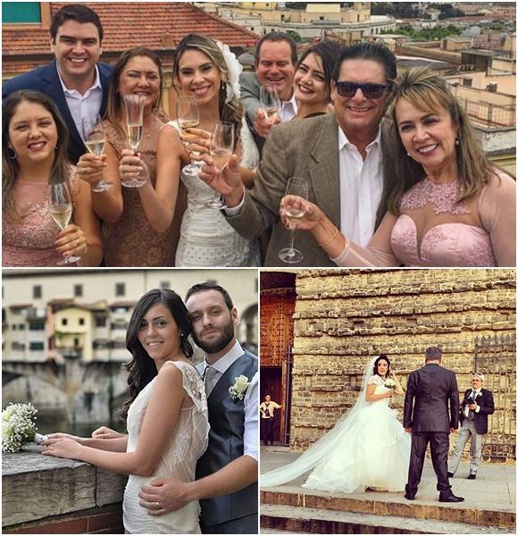 Mosaico com fotos de casamentos, em cima, família brindando com os noivos, abaixo noivos abraçados de lado numa mureta, ao lado, noiva olhando para trás, ao lado do noivo e em frente ao fotógrafo Blog Vem Por Aqui