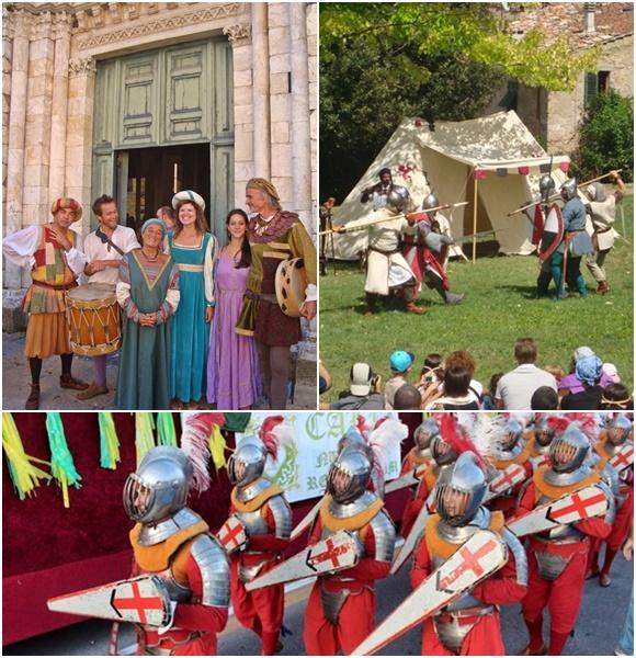 Mosaico com fotos das festas, na primeira Deyse e outras pessoas vestidas com roupas medievais, na segunda a simulação de uma batalha e, abaixo, soldados medievais Blog Vem Por Aqui