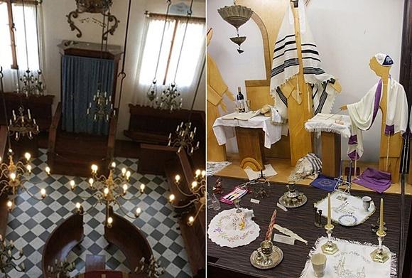 Foto da sinagoga ao lado de uma do museu com vários itens judaicos Blog Vem Por Aqui