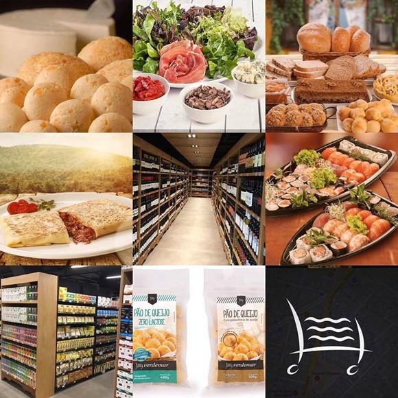 Mosaico com pão de queijo, saladas, pães, crepe, prateleira de vinhos, sushis, prateleira de outros produtos, pacotes de pão de queijo e símbolo do Verdemar Blog Vem Por Aqui