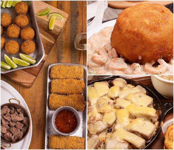 Mosaico de três fotos com as porções do Empório, bolinhos e carne, batata recheada com molho de camarão e carne na chapa coberta com queijo Blog Vem Por Aqui