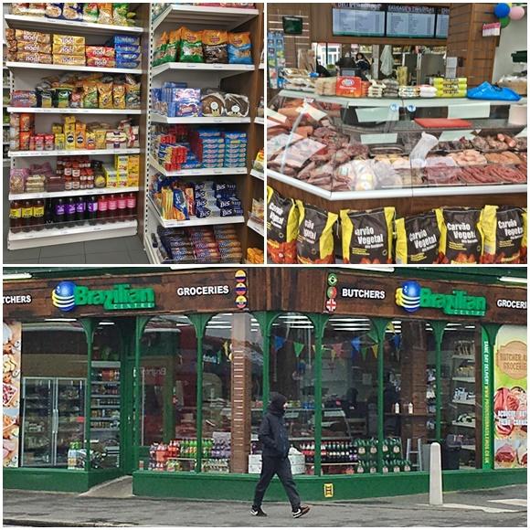 Mosaico com fotos da prateleira de produtos com artigos brasileiros, do balcão de vidro com carnes brasileiras e da fachada da loja com uma pessoa andando em frente Blog Vem Por Aqui