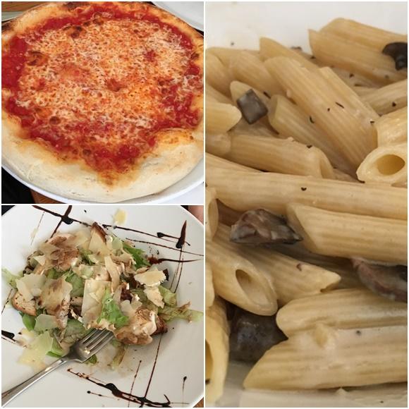 Mosaico com três fotos, pizza, macarrão e salada Blog Vem Por Aqui