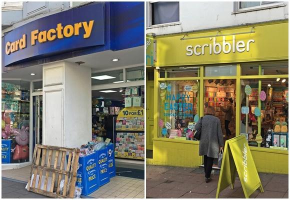 Fachada das lojas de cartão Card Factory e Scribbler Blog Vem Por Aqui