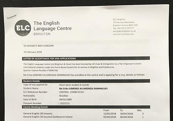 Visa Letter de Érika enviada pela ELC, escola onde ela está estudando em Brighton Blog Vem Por Aqui