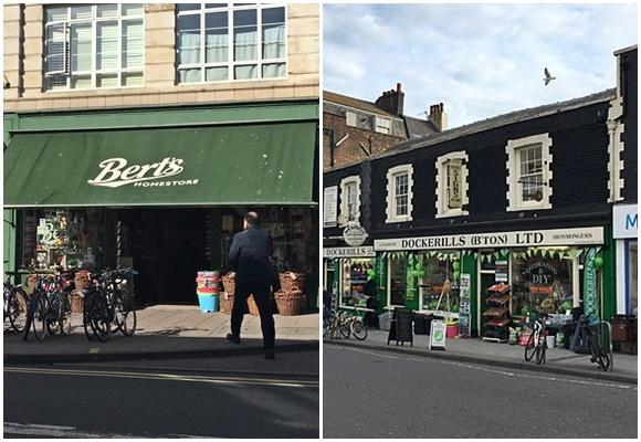 Mosaico com foto da Bert's com toldo esticado com o nome da loja e da Dockerills com nome acima da loja alguns produtos na porta Blog Vem Por Aqui