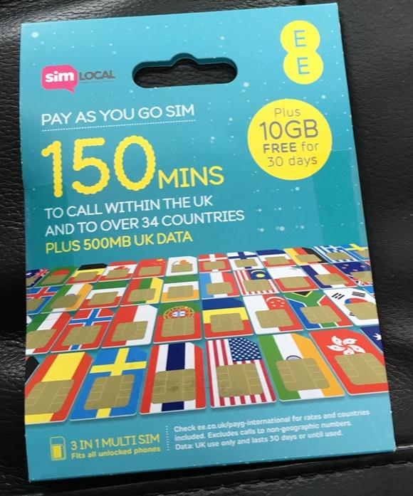 Envelope do chip da SimLocal com informações sobre minutos (150) e internet (500 MB + 10 GB) na capa. Blog Vem Por Aqui