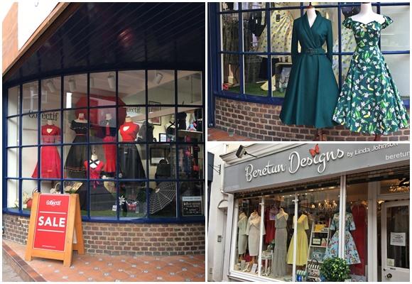 Vitrine das lojas com roupas tipo anos 50 Blog Vem Por Aqui