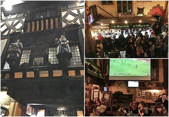 Mosaico com fotos da entrada do bar, de pessoas esperando em frente ao balcão por bebida e de uma sala com telão Blog Vem Por Aqui