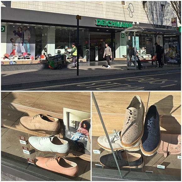 Mosaico com fotos da fachada da loja e de sapatos na vitrine Blog Vem Por Aqui