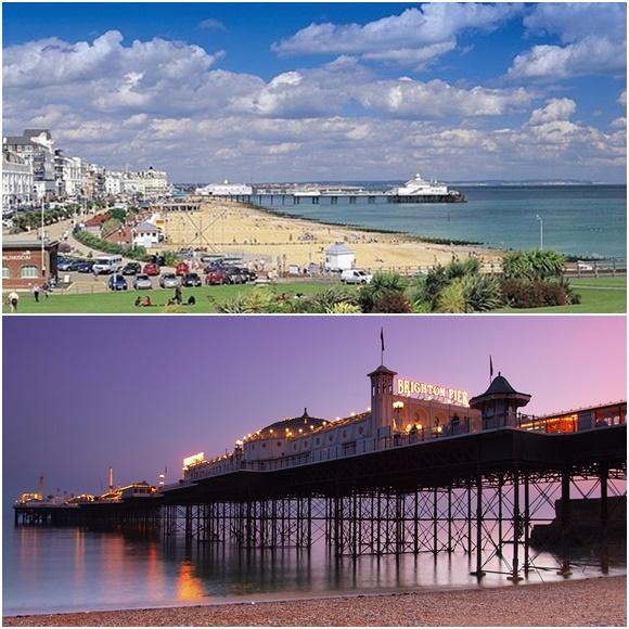 Mosaico com duas fotos, a primeira da orla de Eastbourne vista do alto com pier ao fundo e a segunda é do pier de Brighton no anoitecer Blog Vem Por Aqui