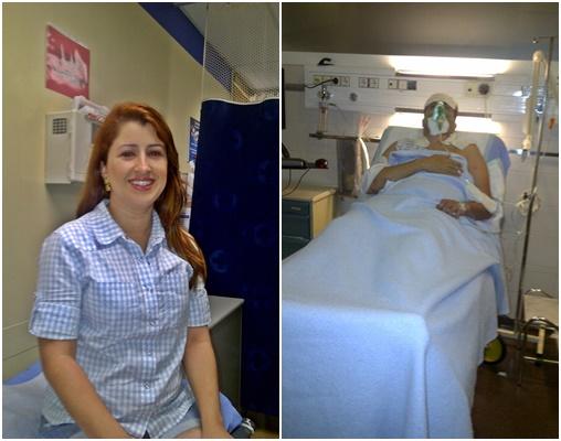 Mosaico com duas fotos, na primeira Érika sentada numa das salas da clínica com o olho vermelho de conjuntivite, na segunda, Mateus deitado numa cama de hospital com respirador, em Andorra Blog Vem Por Aqui