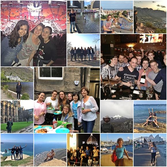 Mosaico com fotos de todos entrevistados nos países onde moraram. Alguns estão sozinhos outros com grupos de pessoas com quem conviveram lá fora. Blog Vem Por Aqui