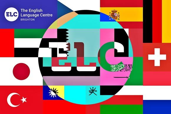 Montagem com a palavra ELC no meio de diferentes bandeiras Blog Vem Por Aqui