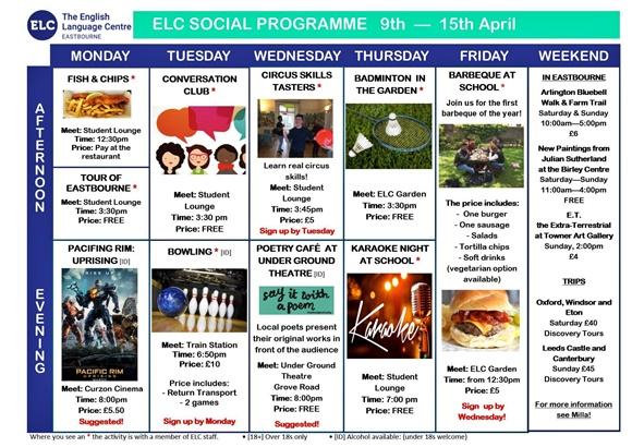 Folha com as atividades da semana de 9 a 15 de abril divididas por dias e por períodos (tarde e noite) Blog Vem Por Aqui