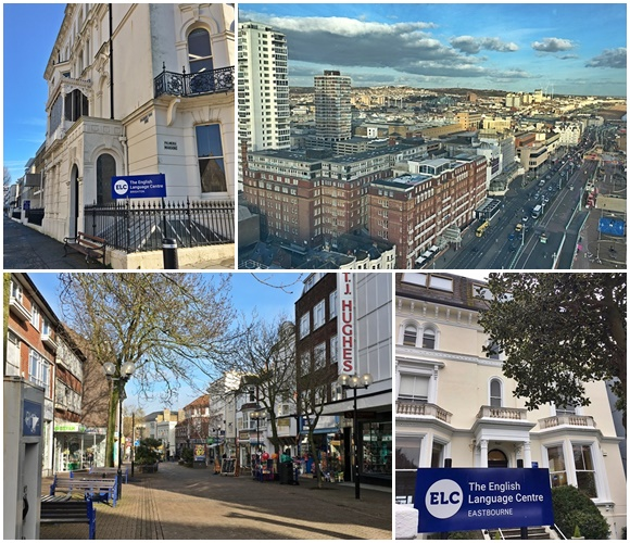 Mosaico com 4 fotos. Na primeira o prédio do ELC em Brighton e na segunda uma visão panorâmica da cidade. Na terceira o centro de Eastbourne e, na quarta, o prédio do ELC de Eastbourne
