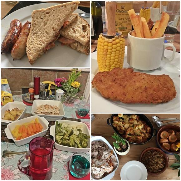 Mosaico com quatro fotos de comidas, sanduíche de bacon, frango com milho e batatas fritas, jantar completo com travessa com vegetais e frango, outro jantar completo com travessa com carnes, com batata e com Yorkshire Pudinng Blog Vem Por Aqui