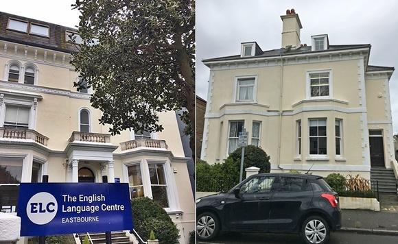 Mosaico com fotos dos dois prédios, diante do primeiro há uma árvore e placa grande com o nome da escola e a cidade, diante do segundo há um carro estacionado Blog Vem Por Aqui