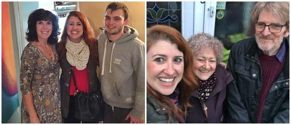 Montagem de duas fotos lado a lado, na primeira Érika no meio da família de Brighton (Karen e o filho Niall) e na segunda Érika na ponta e o casal (Leia e Mike) ao lado Blog Vem Por Aqui