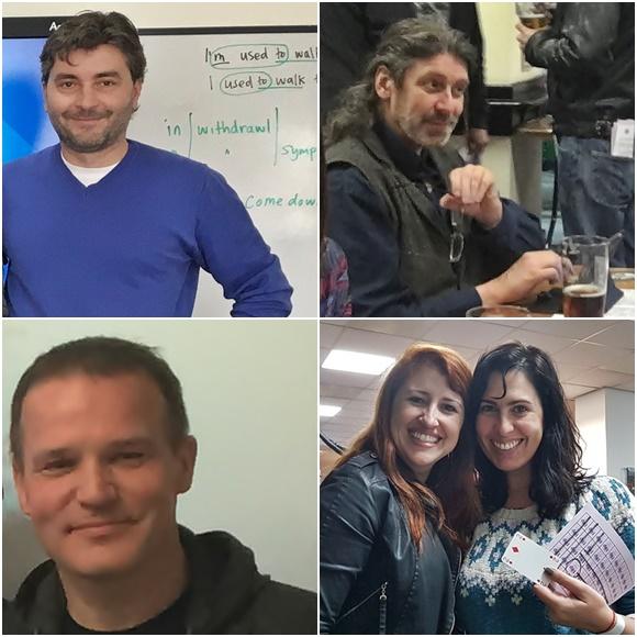 Mosaico com colegas de Érika, Ivo, professor checo, George, psicólogo alemão, Ilya, empresário russo e Érika e Laura sorrindo Blog Vem Por Aqui