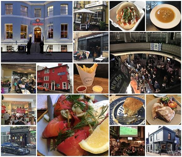 Mosaico com fotos de vários restaurantes e bares em que Érika esteve e algumas comidas Blog Vem Por Aqui