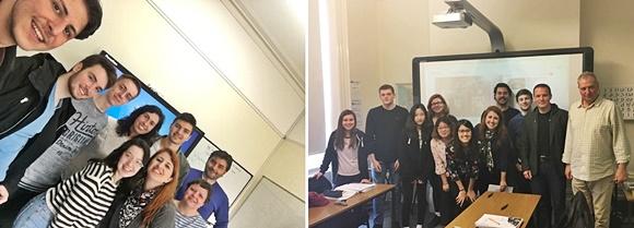 Fotos lado a lado com as salas em que Érika estudou e seus colegas em Brighton e Eastbourne Blog Vem Por Aqui