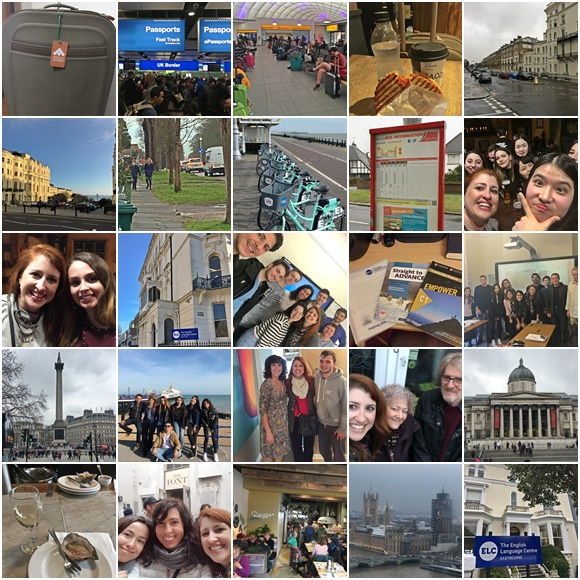 Mosaico com 25 fotos de lugares e momentos que Érika viveu na viagem Blog Vem Por Aqui