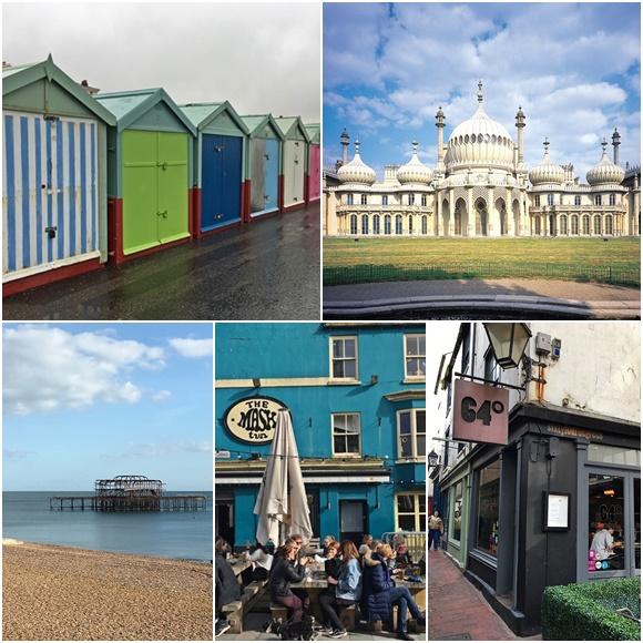 Mosaico com fotos de Brighton: casinhas coloridas na praia, Royal Pavillion, Pier antigo, bar The Mask e restaurante 64o. Blog Vem Por Aqui