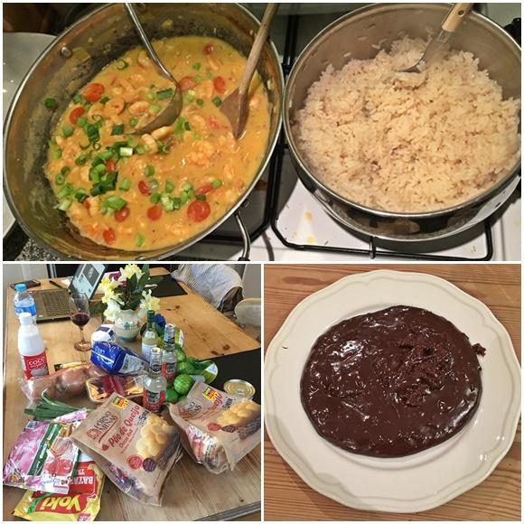 Mosaico com três fotos, na primeira, panela com camarão e outro com arroz, em cima do fogão, na segunda os ingredientes e na terceira prato com brigadeiro Blog Vem Por Aqui