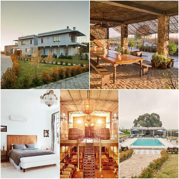 Mosaico com fotos do Narbona Wine Lodge, casa central, varanda com mesa de madeira grande, quarto, fábrica e piscina Blog Vem Por Aqui