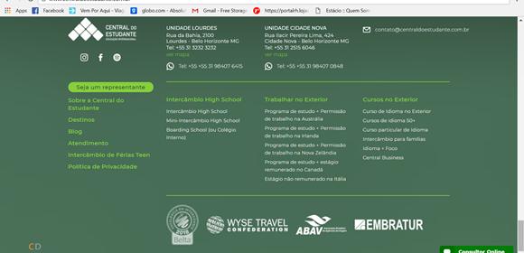 Print da parte final do site com todo o menu da página Blog Vem Por Aqui