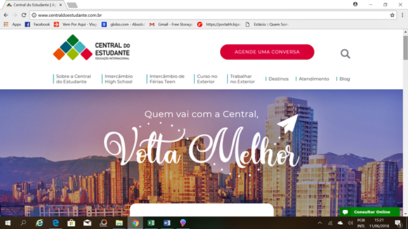 Print da página inicial do site da Central do Estudante Blog Vem Por Aqui
