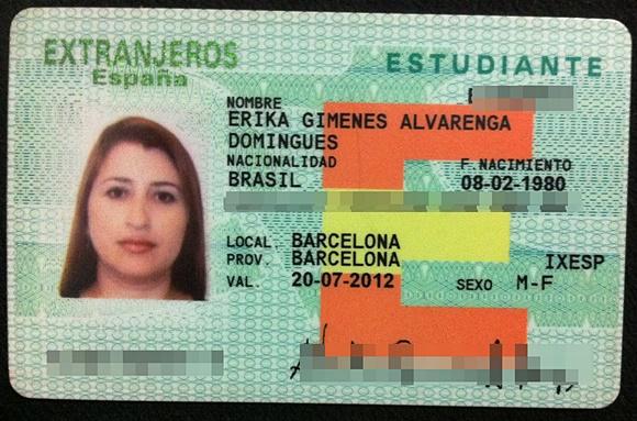 Identidade espanhola de Érika