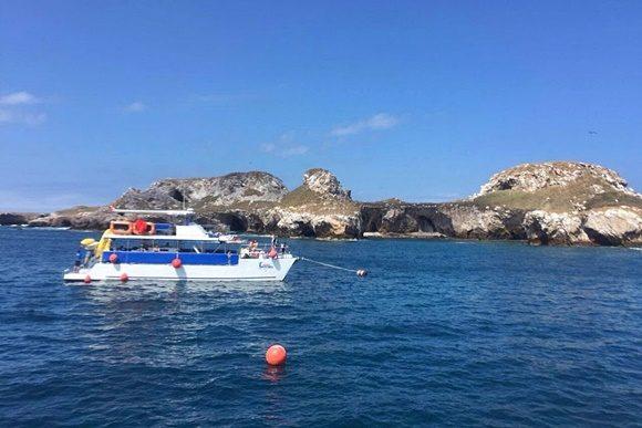 Barco parado em alto-mar com ilha ao fundo