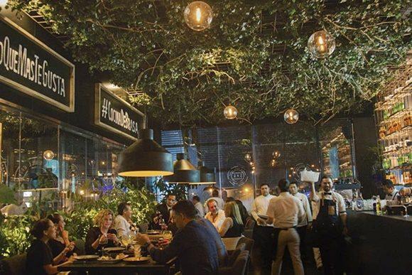 Salão do restaurante com teto cheio de plantas e luminárias redondas com mesas cheias