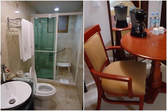 Mosaico com foto do banheiro à esquerda e da mesinha com cafeteira e águas à direita